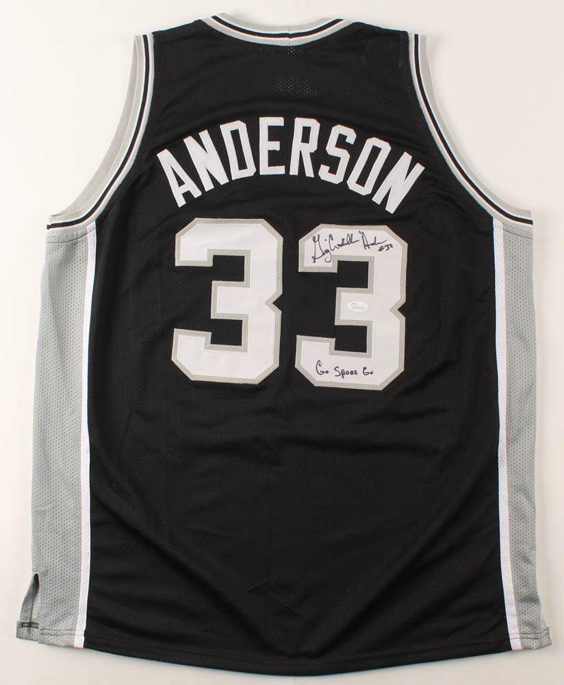 greg cadillac anderson signed jersey inscribed go spurs go jsa coa pristine auction pristine auction