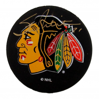 Stan Mikita Signed Blackhawks Logo Hockey Puck (PSA COA) at PristineAuction.com