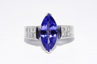 4.56ct Tanzanite & Diamond Ring 14kt White Gold (GAL Certified) at PristineAuction.com