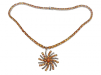 47.20ct Orange Sapphire & Diamond Necklace (GAL Certified) at PristineAuction.com