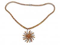 47.20ct Orange Sapphire & Diamond Necklace (GAL Certified) at PristineAuction.com