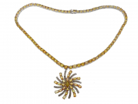 44.05ct Yellow Sapphire & Diamond Necklace (GAL Certified) at PristineAuction.com