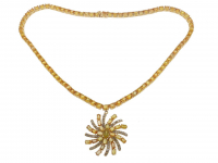 40.70ct Yellow Sapphire & Diamond Necklace (GAL Certified) at PristineAuction.com