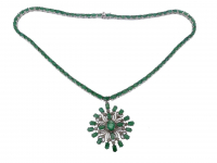 25.60ct Emerald & Diamond Necklace (GAL Certified) at PristineAuction.com