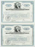 """Lot of (2) Vintage 1940 """"The New York Central Railroad Company"""" (100) Shares Stock Certificates at PristineAuction.com"""
