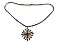 29.85ct Blue Sapphire & Diamond Necklace (GAL Certified) at PristineAuction.com