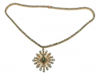 23.90ct Green Sapphire & Diamond Necklace (GAL Certified) at PristineAuction.com