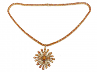26.85ct Orange Sapphire & Diamond Necklace (GAL Certified) at PristineAuction.com
