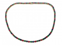 31.90ct Emerald, Ruby, & Sapphire Tennis Necklace (GAL Certified) at PristineAuction.com