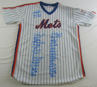 1986 Mets Jersey Team-Signed by (34) with Davey Johnson, Ray Knight, Jesse Orosco, Rafael Santana, Darryl Strawberry (PSA Hologram) at PristineAuction.com