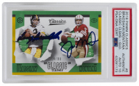 Joe Montana & Terry Bradshaw Signed 2018 Panini Classics #8 Classic Clashes Gold #14 / 99 (PSA Encapsulated) at PristineAuction.com