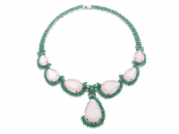 150.05ct Rose Quartz & Emerald Necklace (GAL Certified) at PristineAuction.com