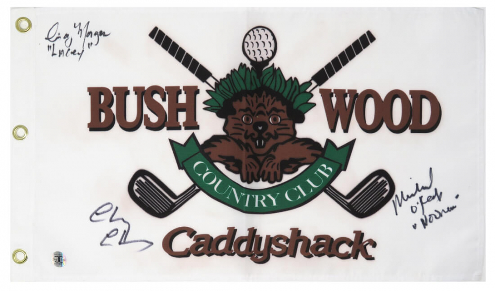 """Chevy Chase, Cindy Morgan, & Michael O'Keefe Signed """"Caddyshack"""" Bushwood Country Club Pin Flag Inscribed """"Noonan"""" & """"Love Lacey"""" (Schwartz Sports COA & Chase Hologram) at PristineAuction.com"""