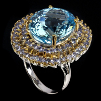 19.05ct Natural Blue Topaz & Tanzanite Ring (GAL Certified) at PristineAuction.com