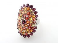 6.00ct Natural Multi-Colored Sapphire, Ruby, & Garnet Ring (GAL Certified) at PristineAuction.com