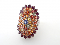 5.97ct Natural Tanzanite, Multi-Colored Sapphire, Ruby, & Garnet Ring (GAL Certified) at PristineAuction.com