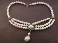 White Pearl & 6.70ct Natural Blue Topaz & Green Garnet Necklace (GAL Certified) at PristineAuction.com