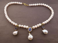 White Pearl & 7.00ct Natural Tanzanite & Green Garnet Necklace (GAL Certified) at PristineAuction.com
