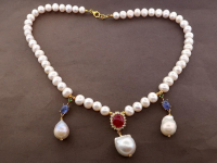 White Pearl & 8.15ct Natural Tanzanite & Ruby Necklace (GAL Certified) at PristineAuction.com