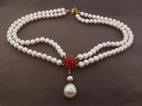 White Pearl & 9.50ct Natural Ruby Necklace (GAL Certified) at PristineAuction.com