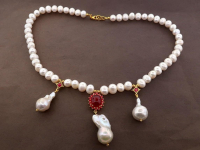 White Pearl & 6.15ct Natural Ruby Necklace (GAL Certified) at PristineAuction.com