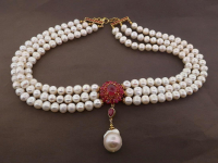 White Pearl & 9.75ct Natural Ruby Necklace (GAL Certified) at PristineAuction.com