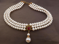 White Pearl & 6.30ct Natural Ruby Necklace (GAL Certified) at PristineAuction.com