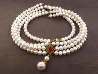 White Pearl & 6.20ct Natural Ruby Necklace (GAL Certified) at PristineAuction.com
