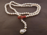 White Pearl & 7.30ct Natural Ruby & Emerald Necklace (GAL Certified) at PristineAuction.com