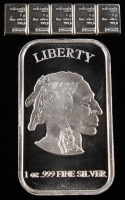 Lot of (2) Silver Pieces with 1 Troy Ounce .999 Fine Silver Liberty Bullion Bar & (5) 1 Gram Silver Valcambi Mint Bullion Bars (Uncut) at PristineAuction.com