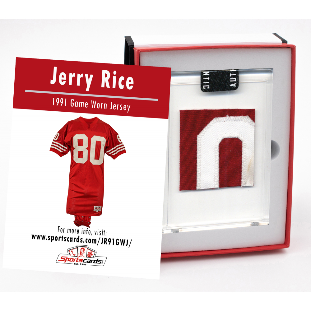 AUCTION - JERRY RICE 1991 SAN FRANCISCO 49ERS GAME-WORN JERSEY MYSTERY SWATCH BOX!