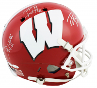 J.J. Watt, T.J. Watt, & Derek Watt Signed Wisconsin Badgers Full Size Helmet (JSA COA) at PristineAuction.com