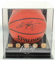 Kobe Bryant Signed Official Game Ball Series Basketball with (5) Replica Rings & Display Case (PSA COA) at PristineAuction.com