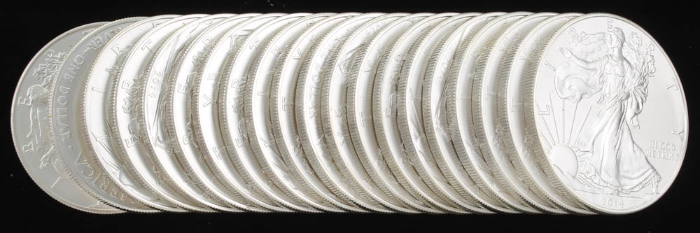 Lot of (20) 2014 Walking Liberty $1 Silver Dollar Coins at PristineAuction.com