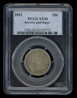 1853 25¢ Seated Liberty Silver Quarter - Arrows & Rays (PCGS XF 40) at PristineAuction.com