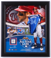 Bryce Harper Signed LE Nationals 15x17 Custom Framed Photo Display with Game-Used Base (JSA COA & MLB Hologram) at PristineAuction.com