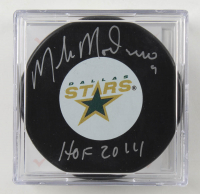 """Mike Modano Signed Stars Logo Hockey Puck Inscribed """"HOF 2014"""" with Display Case (Beckett COA) at PristineAuction.com"""
