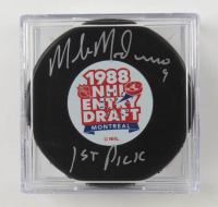 "Mike Modano Signed 1988 NHL Draft Logo Hockey Puck Inscribed ""1st Pick"" with Display Case (Beckett COA) at PristineAuction.com"