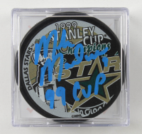"Mike Modano Signed Stars Logo Hockey Puck Inscribed ""99 Cup"" with Display Case (Beckett COA) at PristineAuction.com"