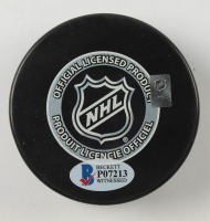 """Jeremy Roenick Signed 1988 NHL Draft Logo Hockey Puck Inscribed """"8th Overall Pick"""" with Display Case (Beckett COA) at PristineAuction.com"""