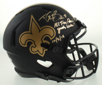 "Drew Brees Signed Saints Eclipse Alternate Full-Size Speed Helmet Inscribed ""All Time Passing Yards Leader 10/8/18"" (Beckett COA & Brees Hologram) at PristineAuction.com"