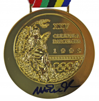 "Magic Johnson Signed 1992 Dream Team Replica Gold Medal Inscribed ""92 Gold"" (Beckett COA) at PristineAuction.com"