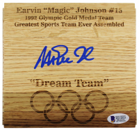 "Magic Johnson Signed Olympic ""Dream Team"" 6x6 Custom Engraved Wood Floorboard Piece (Beckett COA) at PristineAuction.com"