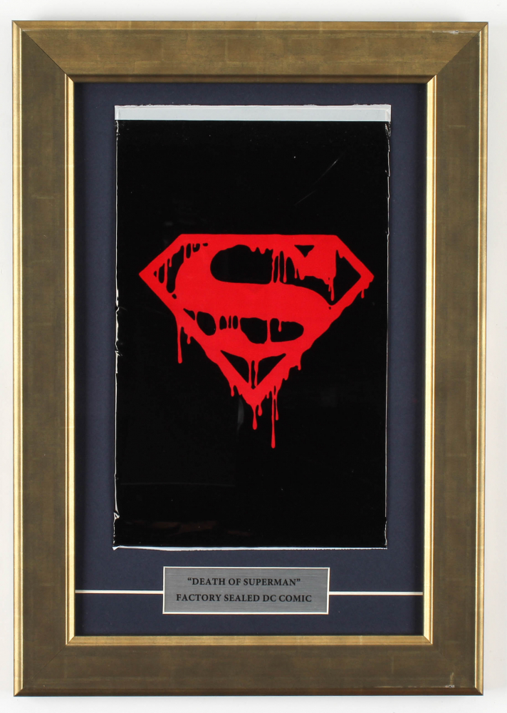 """1992 """"Superman"""" 11.5x16.5 Custom Framed Issue #75 DC Comic Book Black Bag Collector's Set at PristineAuction.com"""