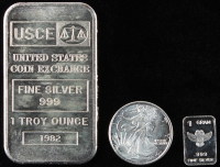 Lot of (3) Silver Pieces with (1) 1 Oz. 999 Fine USCE Bar, (1) .999 Fine Silver 1 Gram Owl Silver Bullion Bar & (1) 1/10 oz Silver Walking Liberty Round Coin at PristineAuction.com