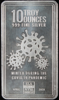 10 Troy Oz .999 Fine Silver Minted During the Covid-10 Pandemic Bullion Bar at PristineAuction.com