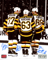 Patrice Bergeron, Brad Marchand & David Pastrnak Signed Bruins 8x10 Photo (The Perfection Line COA & YSMS Hologram) at PristineAuction.com