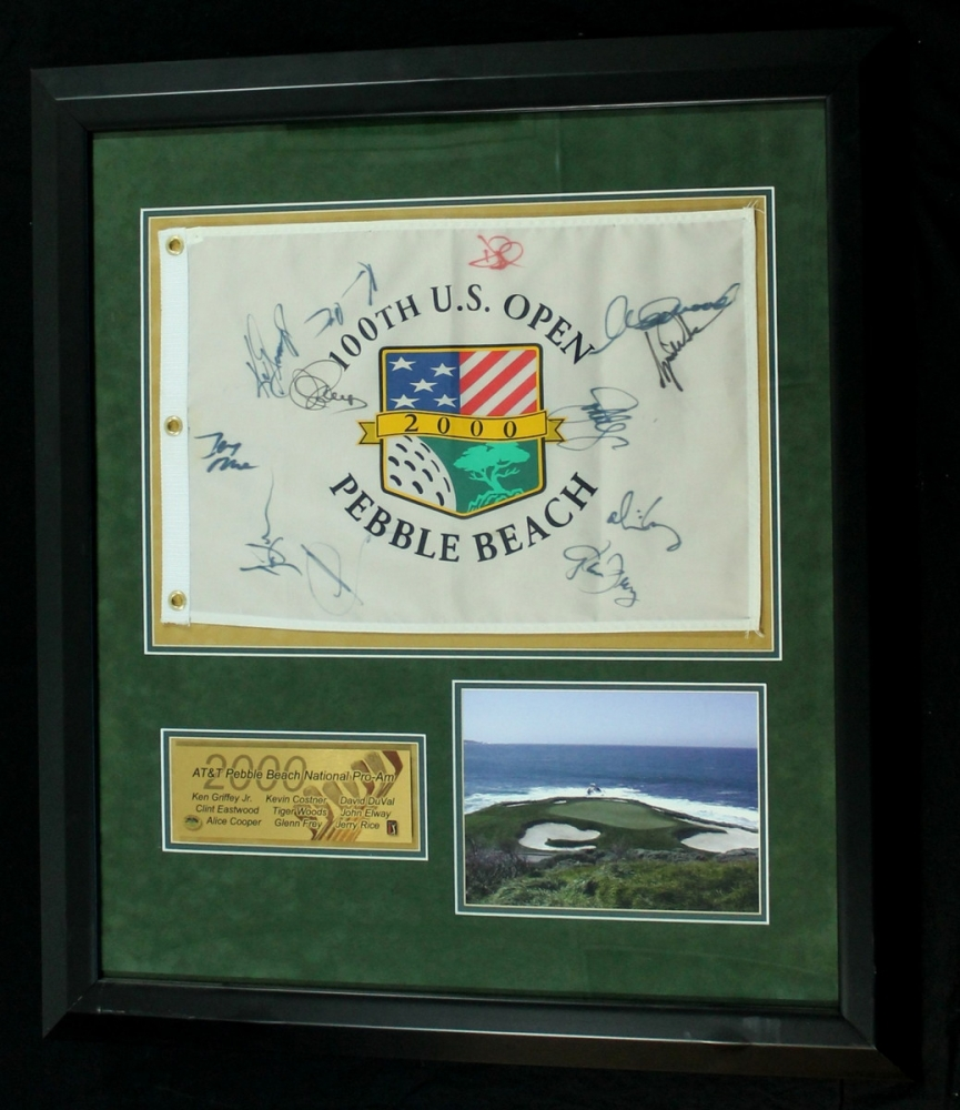 Framed Pebble Beach Golf Flag Signed By 12 With Tiger Woods Clint Eastwood