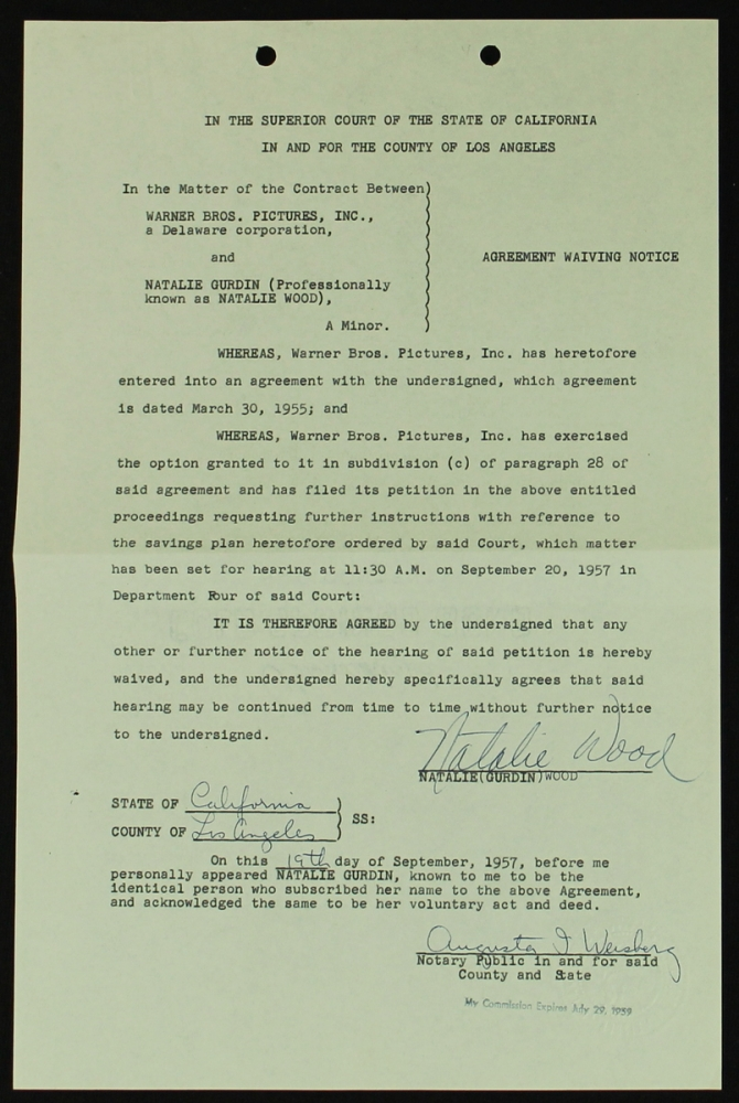Online sports memorabilia auction pristine auction natalie wood signed original warner bros contract from 1957 psa loa at pristineauction platinumwayz