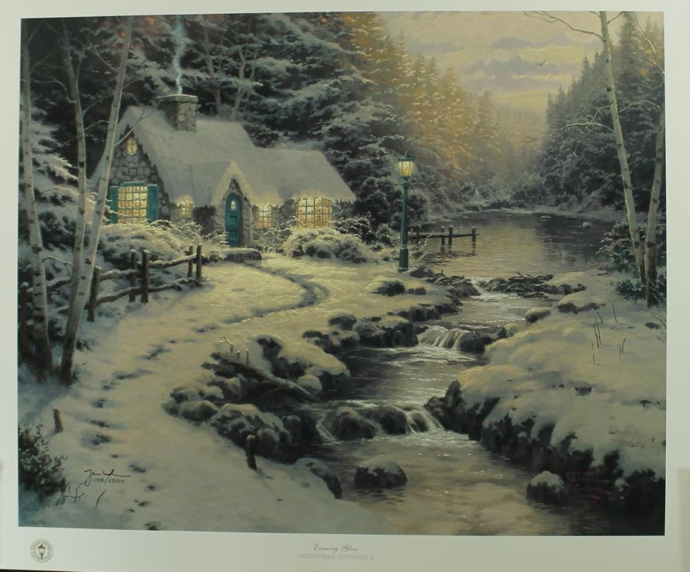 Kinkade christmas cottage - Thomas Kinkade Signed Evening Glow Christmas Cottage 20x24 Classics Collection Lithograph Pa Loa